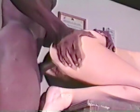 Black dude with moist large jock drills unshaved vagina of the blondie