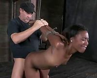 Slender nearly titless chocolate bound up doxy sucks her dominant dry