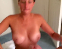 Big tits nice blowjob and handjob combo! MILF Takes Big Facial