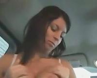 Raunchy dark brown bitch engulfing my rod deepthroat