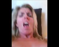 Blonde slut wife MILF In Red Stockings Fucking Herself