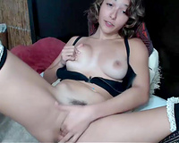 Pretty petite slut wife camgirl masturbating