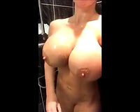Big tits hot blonbe wife  Masturbate in Shower