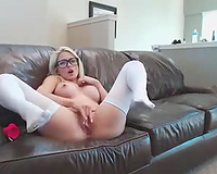 Seeing this nerdy camgirl sliding her sex toy into her twat is indeed joy