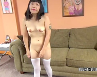 Brunette Japanese dirty slut wife audition for porn with some style