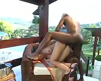 Big dark rod savages a white a-hole outdoors