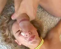 Cum on her face as a shlong bonks her wet crack
