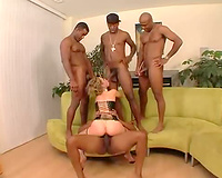 Interracial team fuck end with white hotwife taking cumshots