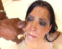 Rebeca Linares in a bukkake movie