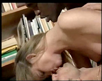 In the home library having hardcore sex