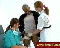 Nurses jerking a petite ramrod