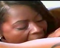 Black babe gobbles his schlong in advance of sex