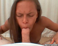 Skinny dark white bitch is priceless at engulfing cock