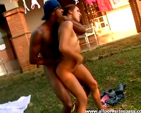 Girl gives body to 2 large ramrod chaps outdoors