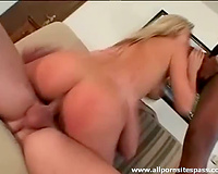 Interracial double penetration with large dongs stretching her holes