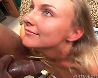 Interracial wet crack fuck and cum in her throat