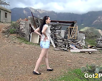 Pale skin brunette hair teenie leaning on the car and pissing