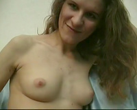 Sleazy pale euro ginger wench takes her underware off on web camera