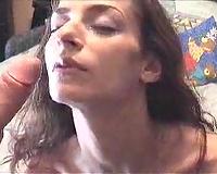 Greek dark brown student white women takes obscene facial from me