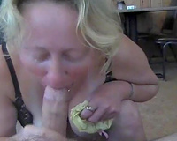 Drunk blond Russian mother I'd like to fuck black cock sluts sucks my giant 10-Pounder and chokes on it