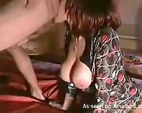 Short haired dark brown with biggest melons sucks jock for gooey goo