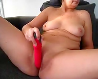 Desirable mother I'd like to fuck pushing moist love tunnel with big sex toy