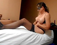 Masked mature hotwife takes a black facial sex in vacation