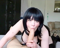 Sexy wife shows how to properly drain a huge cock