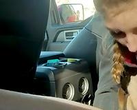 Sexy slut wife public daytime car blowjob
