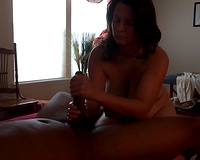 Mature thick slut wife cums on BBC