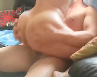 MFM threesome with hubby and fuck buddy cum deep inside her pussy