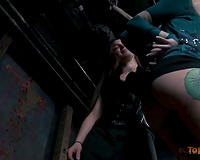 Adorable golden-haired office slutty wife fastened up and suffocated