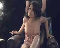 Smoking hawt brunette hair slut with natural whoppers refused to do everything on web camera