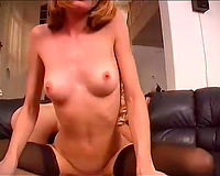 Cock riding paramours in lewd nylons sharing one fellow