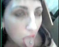 Messy facial after astounding oral sex for my dark brown secretary