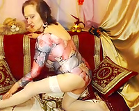 Old and immodest doxy on livecam masturbates despite her age
