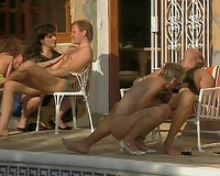 Exquisite suntanned classic babes sucking and fucking by the pool