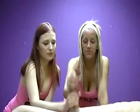 Two juvenile hookers jack off my fat dick giving ultimate tugjob