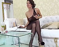 Alluring mother I'd like to fuck in marvelous dark stuff and stockings tenderly rubbed her clitoris