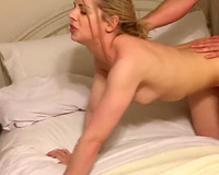 Blonde girlfriend rides on her boyfriends dick while taped