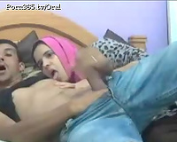 Submissive Arab sweetheart in pink scarf impressed with large dick of her paramour