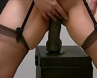Lusty web livecam wife in dark stuff is busy with riding subrigid vibrator of hers