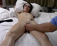 Slender oiled and titless dark brown got a valuable erotic massage session