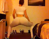 Fabulous white a-hole in constricted white panties bouncing