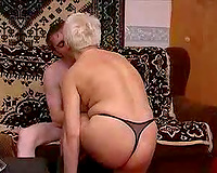 Wife's fat Russian grandma has a very taut wet crack