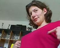 Slutty dark-haired euro slut shows her worn boobies