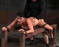 Wild BDSM threesome session with impure brunet milf