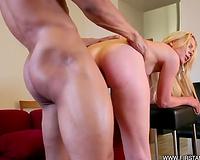 Terrific interracial anal sex scene with a lascivious non-professional blond