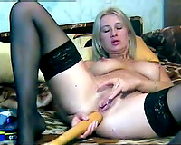 Fucking my the one and the other pleasing holes with my beloved sex toys