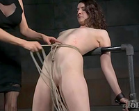Pale skin juvenile brunette hair handled and dominated by golden-haired milf